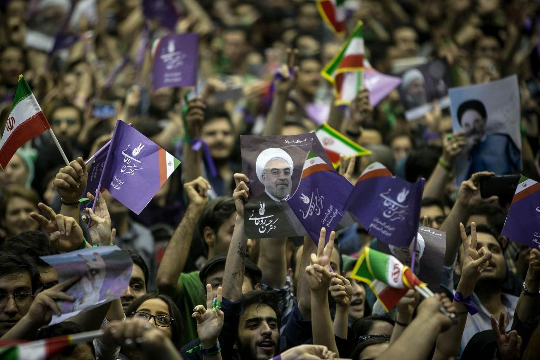 Sostenitori dell'attuale presidente Rouhani