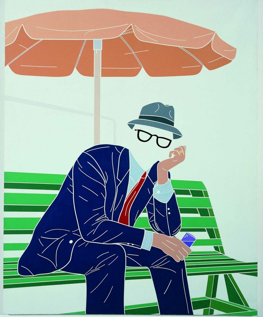 Emilio Tadini, L'uomo dell'organizzazione. Week-end al parco, 1968, collezione privata, courtesy Fondazione Marconi, Milano