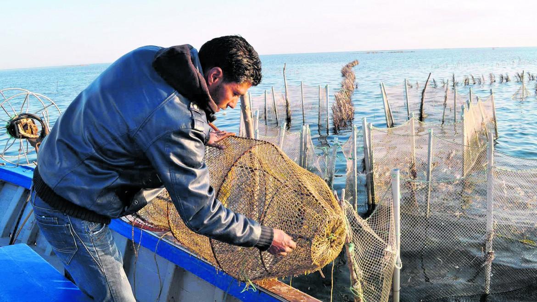 Un pescatore delle isole Kerkennah usa l'antico metodo della Charfia; sotto gli ospiti del festival di Genova Slow Fish