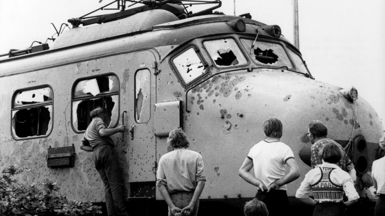 La motrice del treno sequestrato il 23 maggio 1977 nei pressi di Glimmen, dopo l'assalto delle forze speciali olandesi