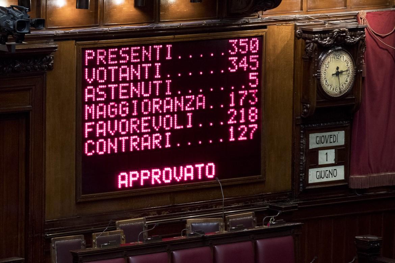 Il tabellone della votazione di ieri