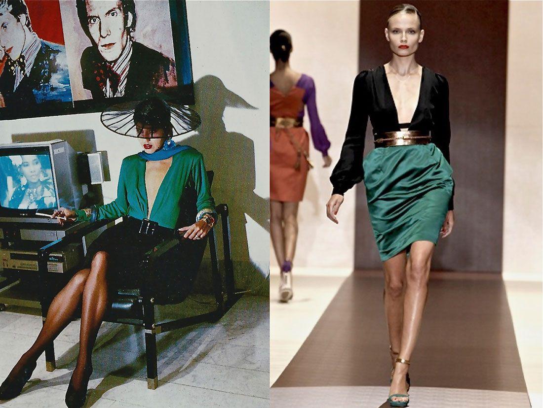 Un modello di Yves Saint Laurent del 1985 messo a confronto con uno di Gucci by Frida Giannini del 2011. Dall'account IntoTheFashion