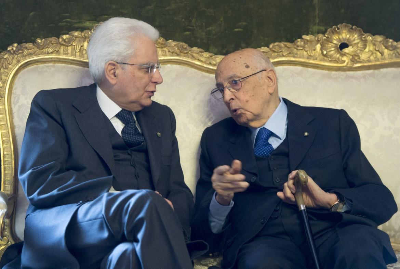 I due presidenti: Sergio Mattarella con Giorgio Napolitano