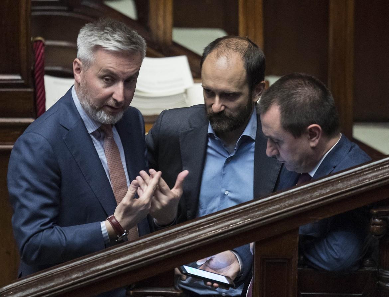 I dem Lorenzo Guerini, Matteo Orfini e Ettore Rosato nell'aula della Camera