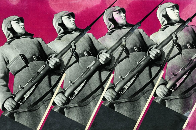 Varvara Stepanova, «Red Army Men», fotomontaggio con uno scatto di Boris Ignatovich