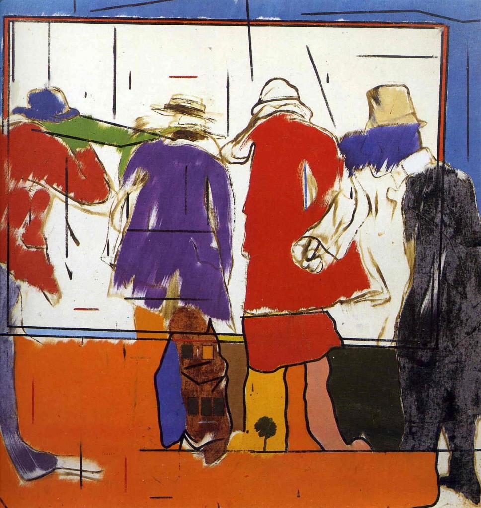 R. B. Kitaj, «The friendship and the shadow of betrayal»; in alto,  Joyce Carol Oates