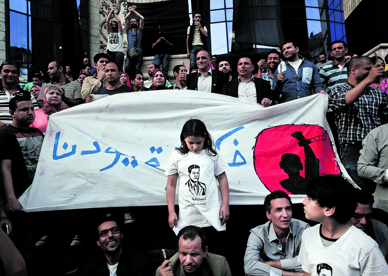 Protesta sindacale al Cairo durante il World Press Freedom Day nel maggio del 2016