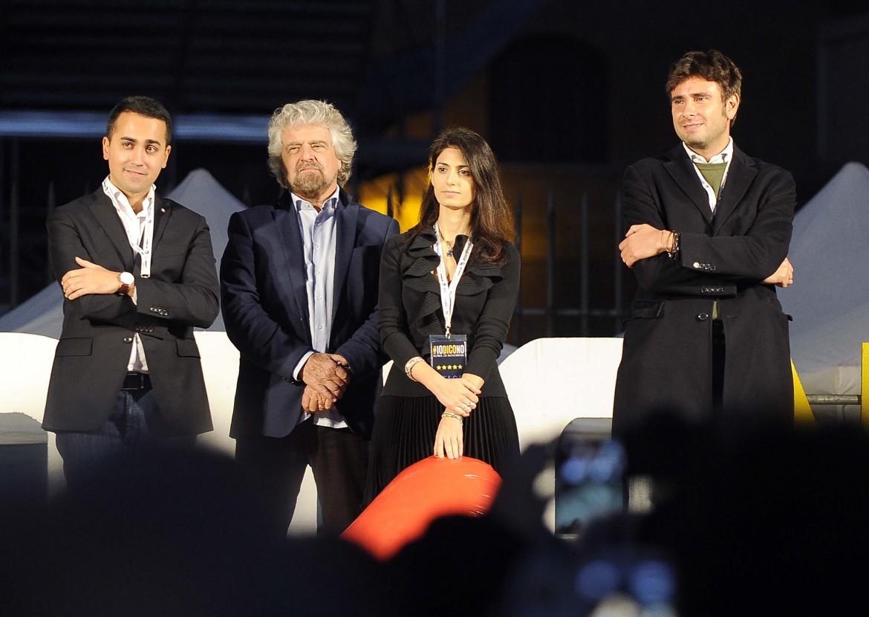 Luigi Di Maio, Beppe Grillo, Virginia Raggi e Alessandro Di Battista, Beppe Grillo