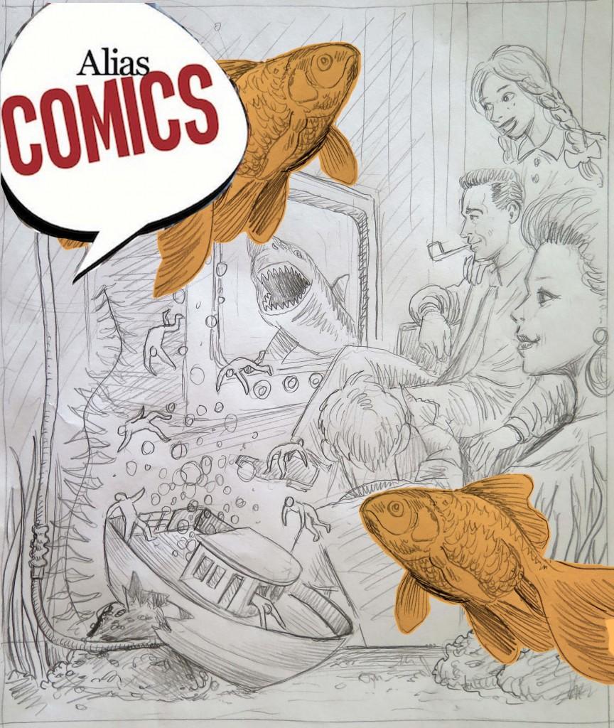 """il bozzetto della copertina di Stefano Zattera per il primo numero di """"Alias Comics"""""""