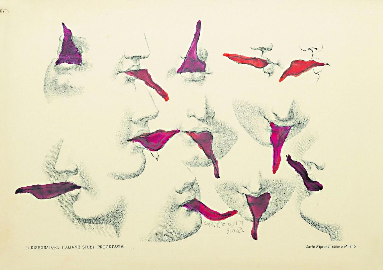 Carol Rama, Lusinghe, 2003, tecnica mista e incisione su carta foderata