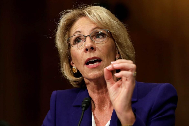 La ministra dell'istruzione americana, Betsy Devos