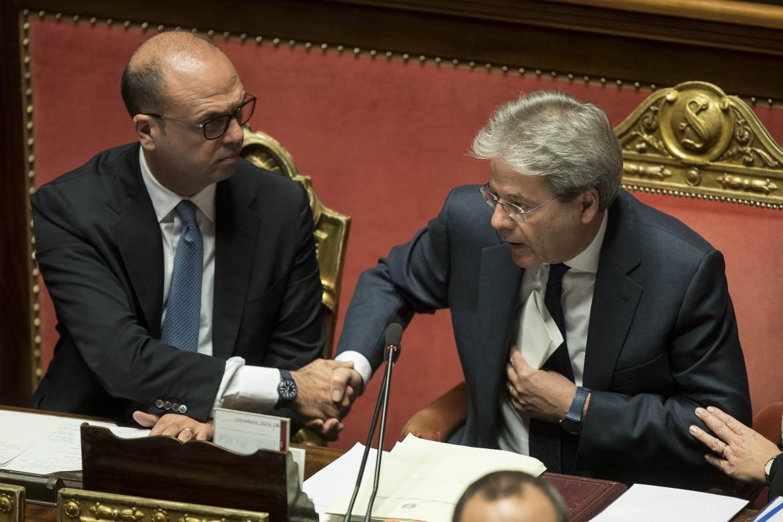 Il premier Gentiloni e il ministro Alfano
