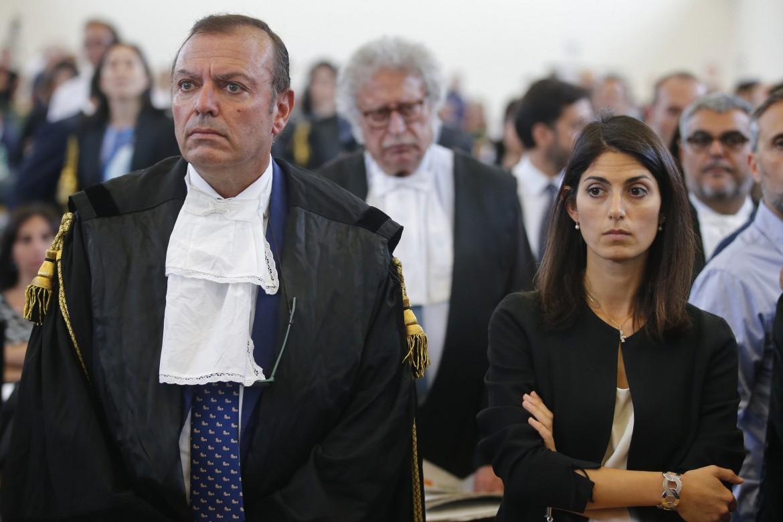 La sindaca di Roma Virginia Raggi al processo Mafia Capitale