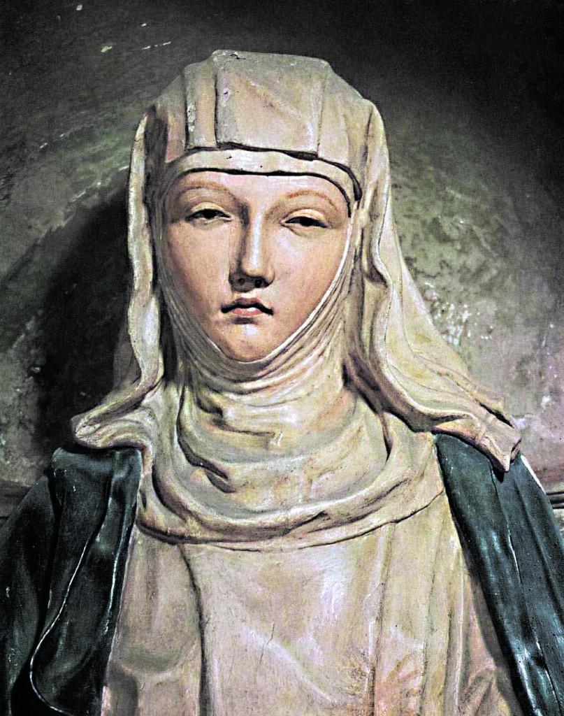 Neroccio di Bartolomeo de' Landi, statua  di Santa Caterina in legno policromo, part., 1475, Siena, Oratorio  della Tintoria