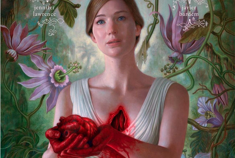 Jennifer Lawrence in un dettaglio del flano di «Mother» di Aronofsky, sotto Matt Damon e Julianne Moore in «Suburbicon» di George Clooney
