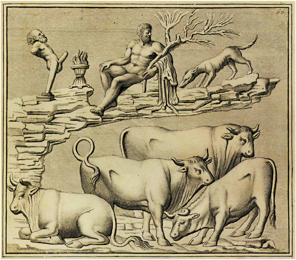 Incisione tratta da bassorilievo raffigurante l'Ercole Silvano, dai «Monumenti antichi inediti», 1767, di J.J. Winckelmann, Chiasso, collezione d'arte m.a.x.