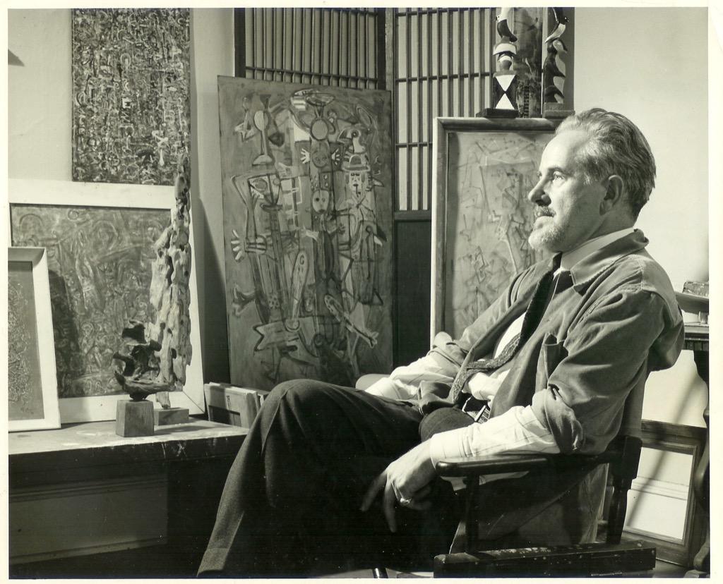 Mark Tobey nel suo studio nel 1949