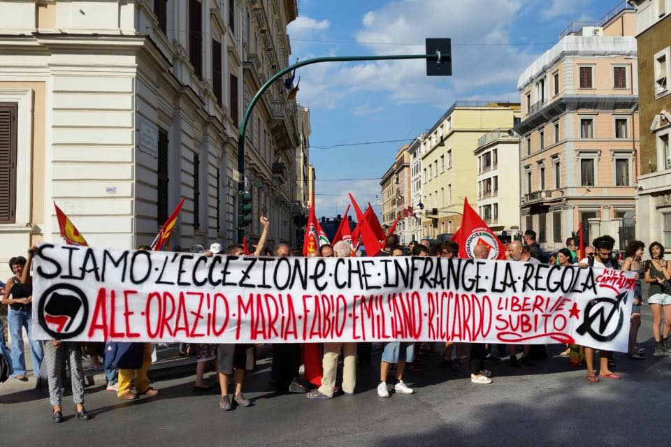 Roma, presidio per la liberazione degli arrestati ad Amburgo all'Ambasciata tedesca