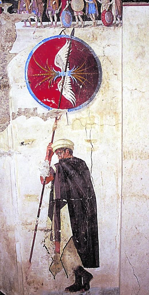 Chalástra, oggi Ágios Athanásios, presso Salonicco, Tomba III, III sec. a.C., particolare dell'affresco col militare che impugna la lunga lancia caratteristica della falange macedone