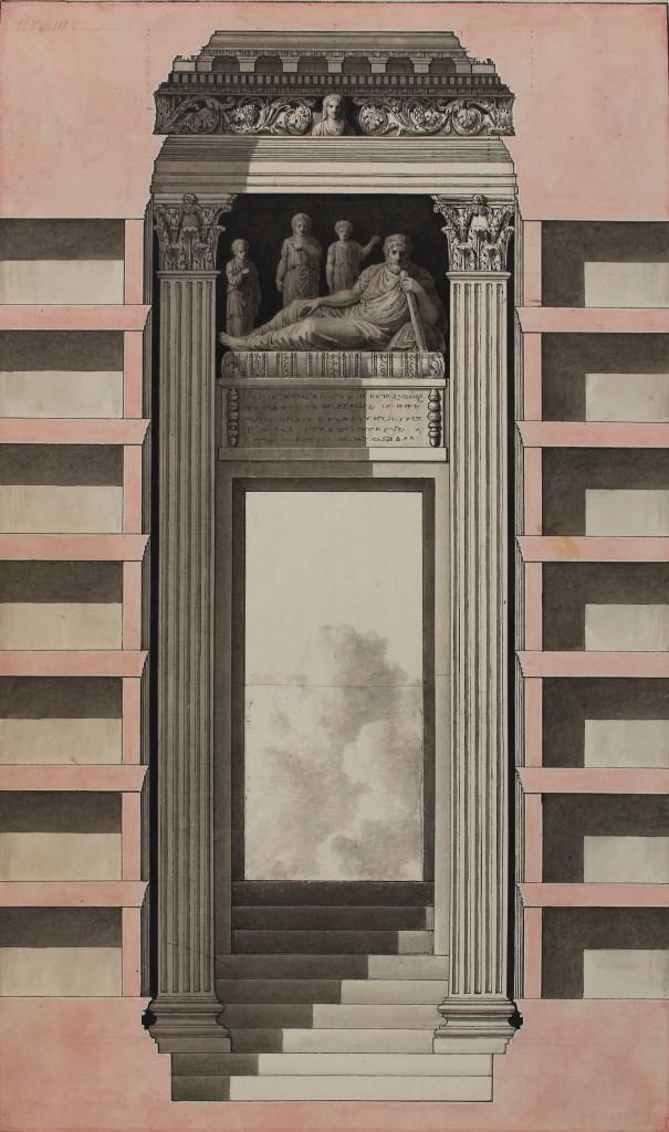 Louis-François Cassas, Palmira, torre funeraria di Giamblico, part., dal Voyage pittoresque de la Syrie, de la Phénicie, de la Palestine et de la Basse-Ægypte, Parigi, 1799