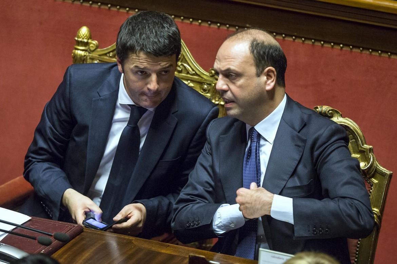 Matteo Renzi e Angelino Alfano; sotto il coordinatore di Ap Giuseppe Castiglione