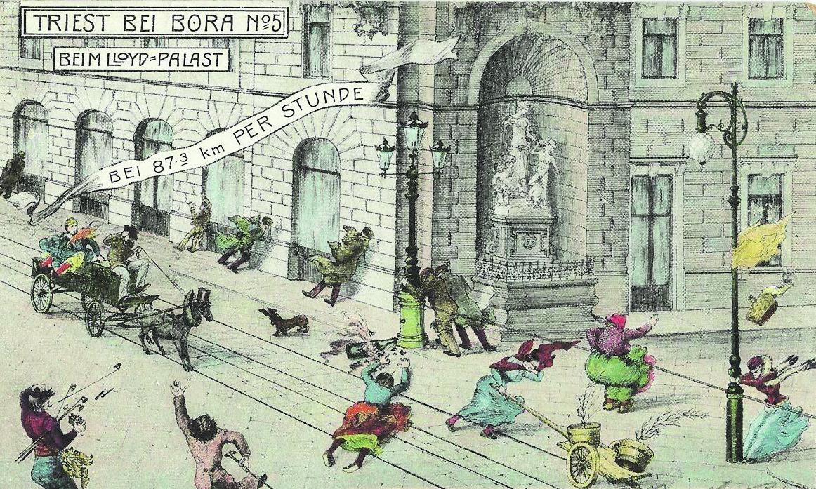 Cartolina con la bora dei primi del Novecento
