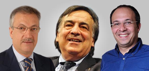 L'ex ministro della telecomunicazioni Cardinale, il sindaco di Palermo Orlando e il referente di Renzi in Sicilia Faraone