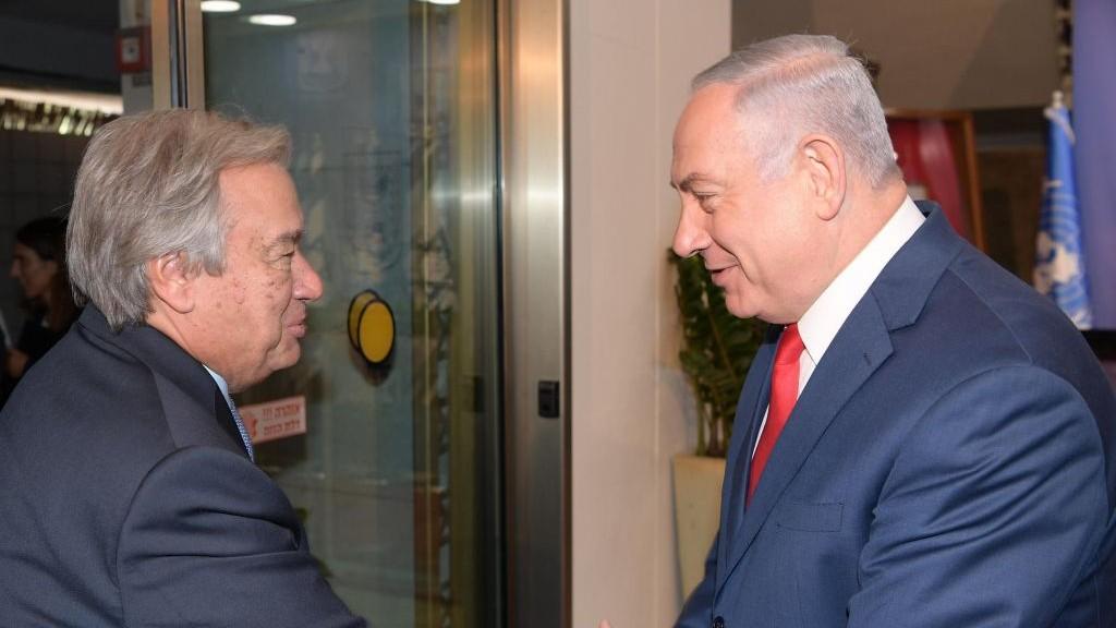Il segretario generale dell'Onu Antonio Guterres a colloqui con il premier israeliano Netanyahu