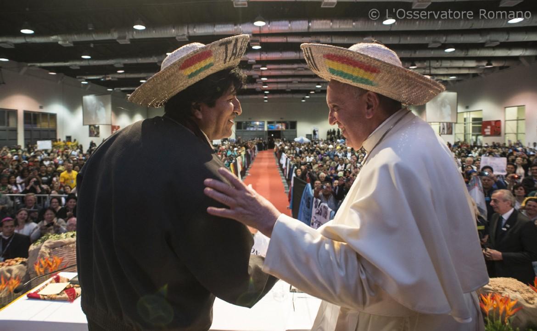 Papa Bergoglio ed Evo Morales a Santa Cruz, in Bolivia