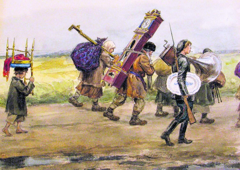 Uno degli sketches con cui il pittore e artista russo-sovietico Ivan Alekseevich Vladimirov, al seguito della milizia di Pietrogrado negli anni 1917-'18, documentò gli eventi e gli effetti della Rivoluzione