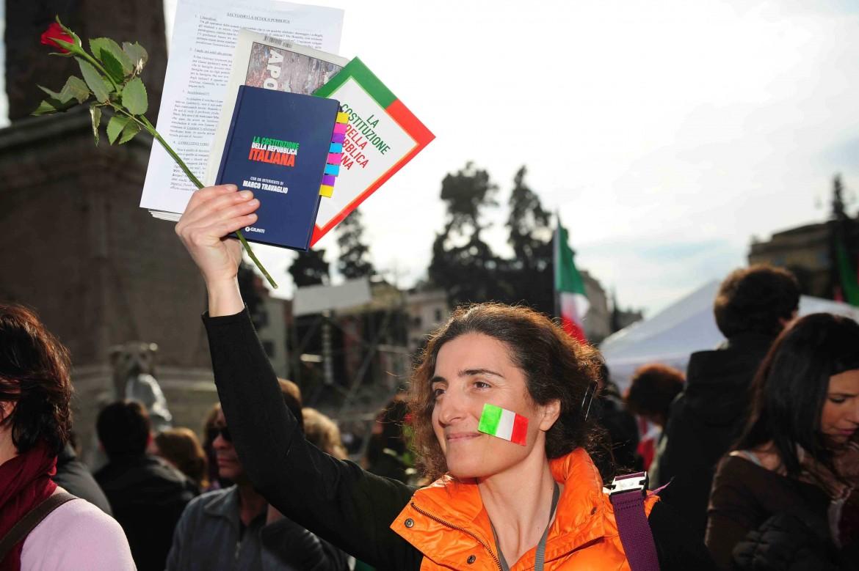 Manifestazione in difesa della Costituzione, Roma.