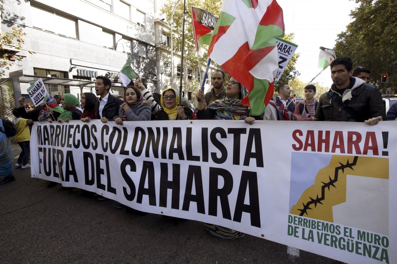 Una manifestazione contro l'occupazione del Sahara occidentale da parte del Marocco a Madrid