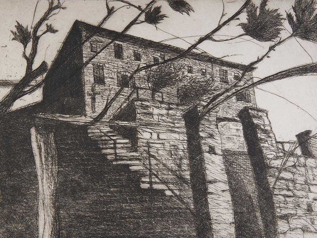 Il convento Santa Maria dei Frati Cappuccini  di Bigorio, Svizzera, in un'incisione  di Giovanni Zgraggen