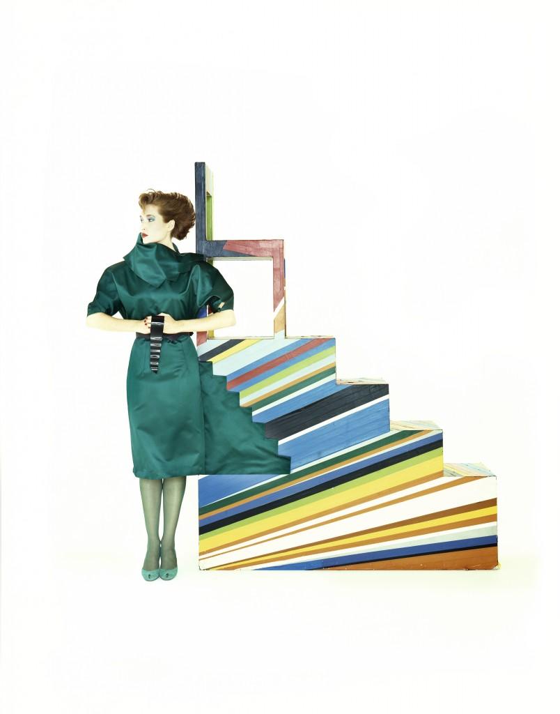 Cinzia Ruggeri, abito omaggio a Levi Strauss, collezione autunno inverno  1983-84
