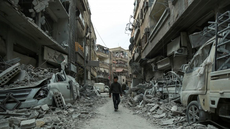 Il sobborgo di Ghouta devastato dalla guerra