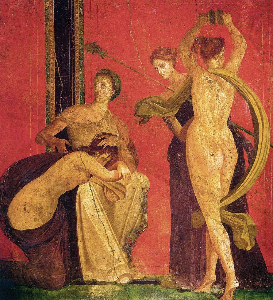 Pompei, Villa dei Misteri, scena dalla decorazione parietale, II stile pompeiano