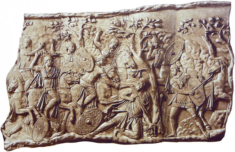 La morte di Decebalo sulla Colonna Traiana  a Roma