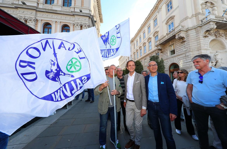 Masimiliano Fedriga, neo eletto presidente del Friuli Venezia Giulia, festeggia a Trieste