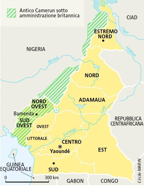 Una mappa del Camerun, in giallo-verde lo