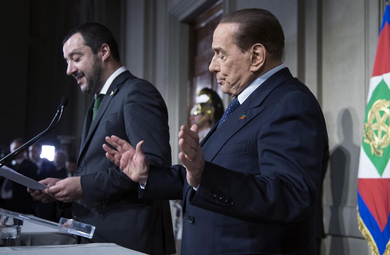 Salvini e Berlusconi dopo le consultazioni al Quirinale