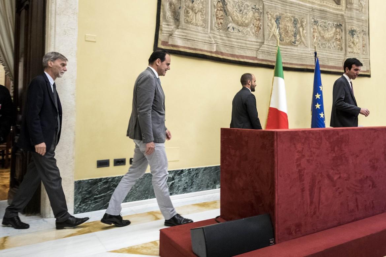 La delegazione del Pd all'uscita dall'incontro con l'esploratore Fico