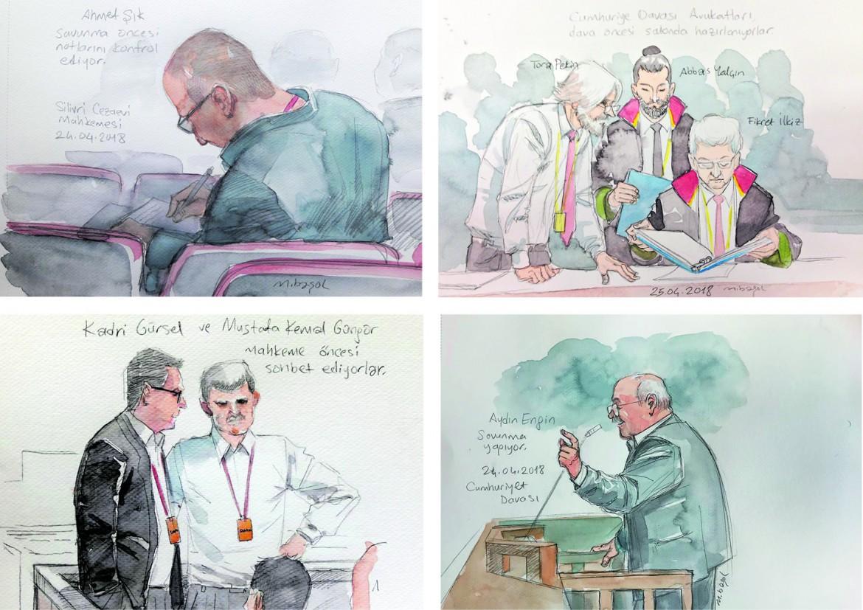 Gli imputati illustrati in aula prima della sentenza dai disegnatori Murat Basol, Zeynep Ozatalay, Nalan Yirtmac e Kemal Gokhan