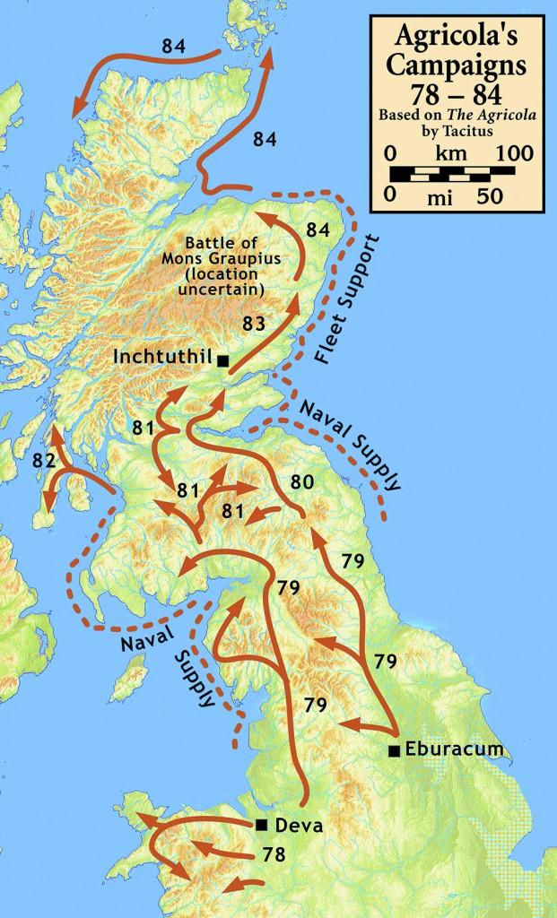 Cartina con le campagne militari del generale Agricola in Britannia