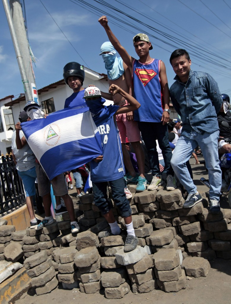 Un'immagine delle proteste in corso in Nicaragua
