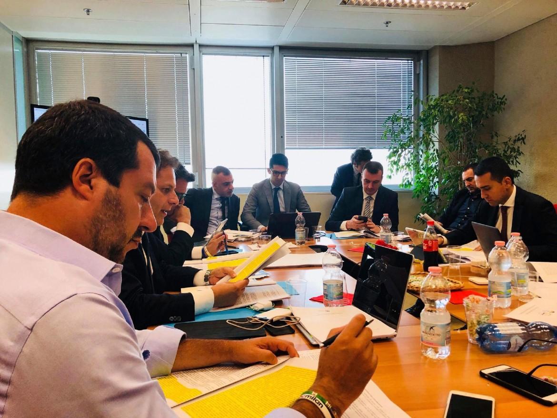 Matteo Salvini al tavolo del Contratto di Governo