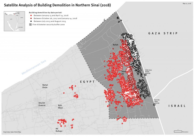 La mappa delle demolizioni a Rafah