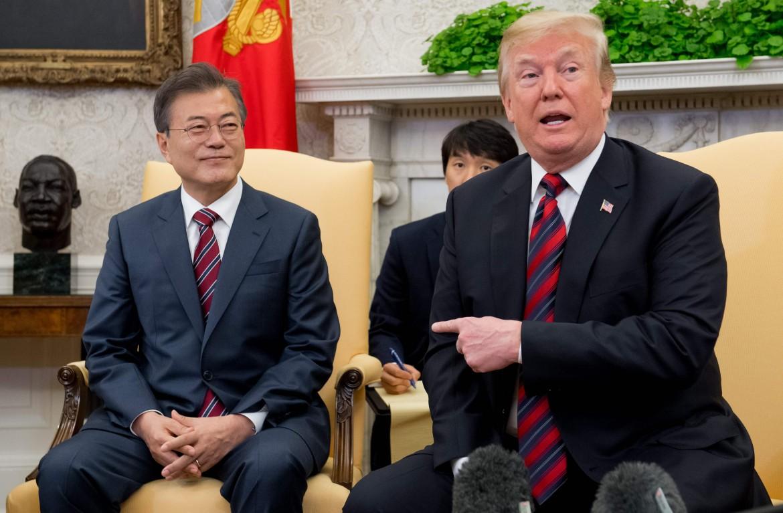 Moon e Trump durante il loro incontro a Washington
