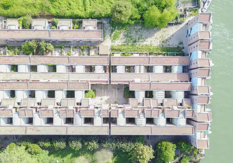 Immagine aerea delle case popolari realizzate da Gino Valle