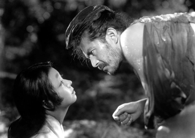 Toshiro Mifune  e Machiko Kyo nel film Rashomon diretto  da Akira Kurosawa, 1960