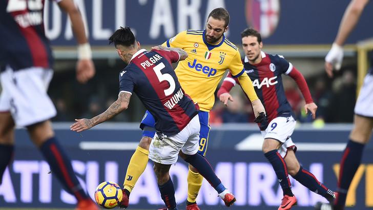 Un'azione di Bologna Juventus 0-3, match di andata giocato il 17 dicembre 2017